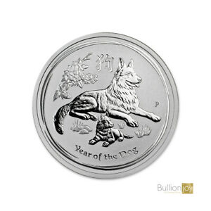 2 coins 1 oz and 1//2 oz .999 Solid Silver Bullion Coins 2018 Year of the Dogs