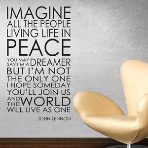 IMAGINE WALL STICKER DECAL JOHN LENNON LYRICS WORDS QUOTES ...