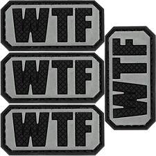 4x PVC Morale Patch WTF Black & light Tan 3D Badge Hook #43 Airsoft