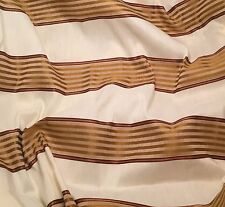 "Raw Silk Fabric - Ivory & Gold Stripe 54"" by the yard"
