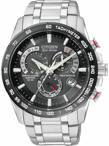 NEW Citizen Mens Eco Drive AT4008-51E Steel S/S Atomic Radio Chronograph Watch