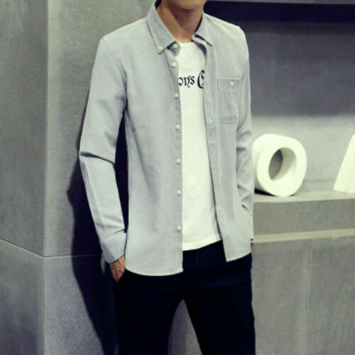 Uomo Manica Lunga Tasca Camicia Oxford Cotone con Bottoni Spesso Casual Elegante