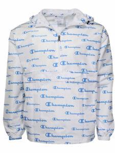 Champion-All-Over-Logo-Jacket-Men-039-s-Packable-Hooded-Half-Zip
