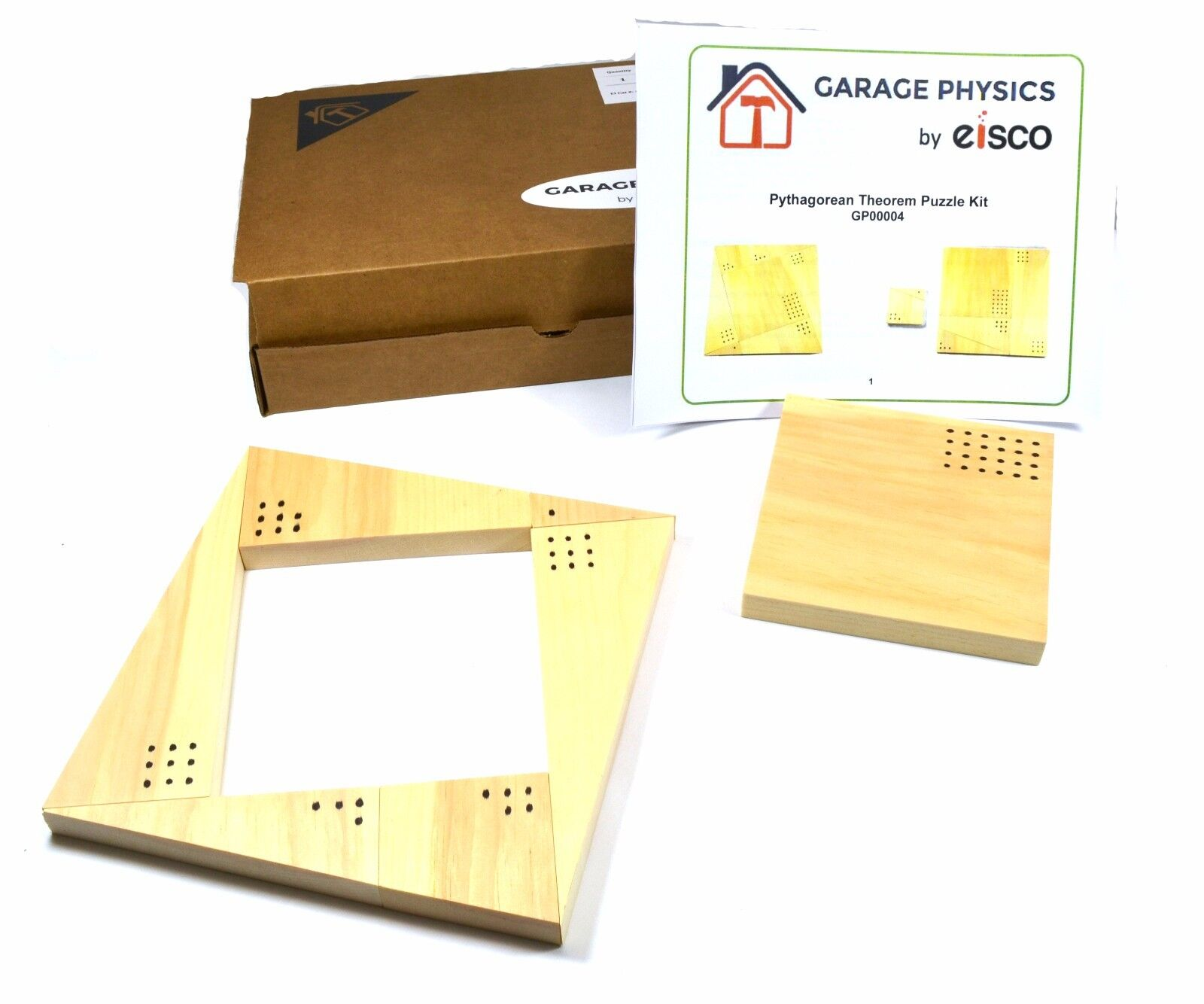 Eisco Garage Physics Pythagorean Theorem Puzzle Kit - Made in the United States