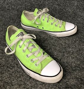 Details about Converse All Star Low Tops Lime Green Sneakers Shoes Mens 7 Womens 9 In EUC