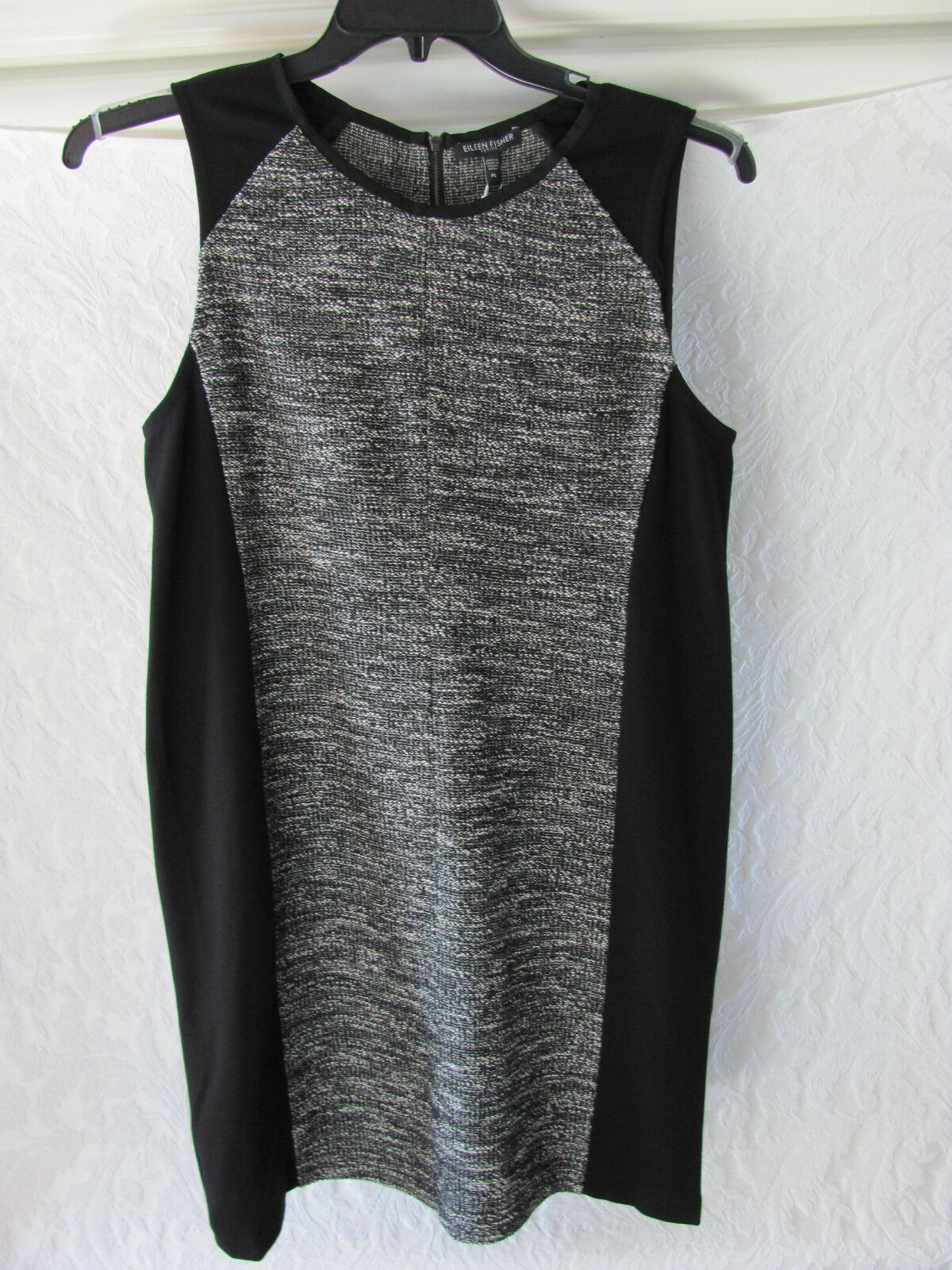 Eileen Fisher Tweedy Cotton Dress-Ponte Farbe Block Panels-schwarz- PL - NWT