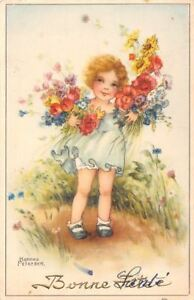 Details About Bonne Fete Birthday Cute Girl Flowers Bouquet Hannes Petersen Signed1945