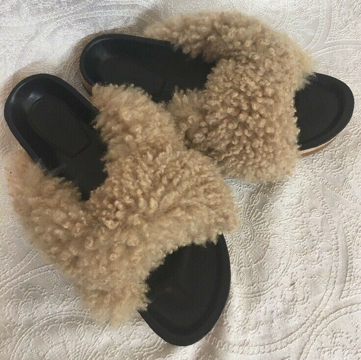 Chlóe Sandal Crossover Shearling Beige Puffy Fur Size New 40 New Size fa6729