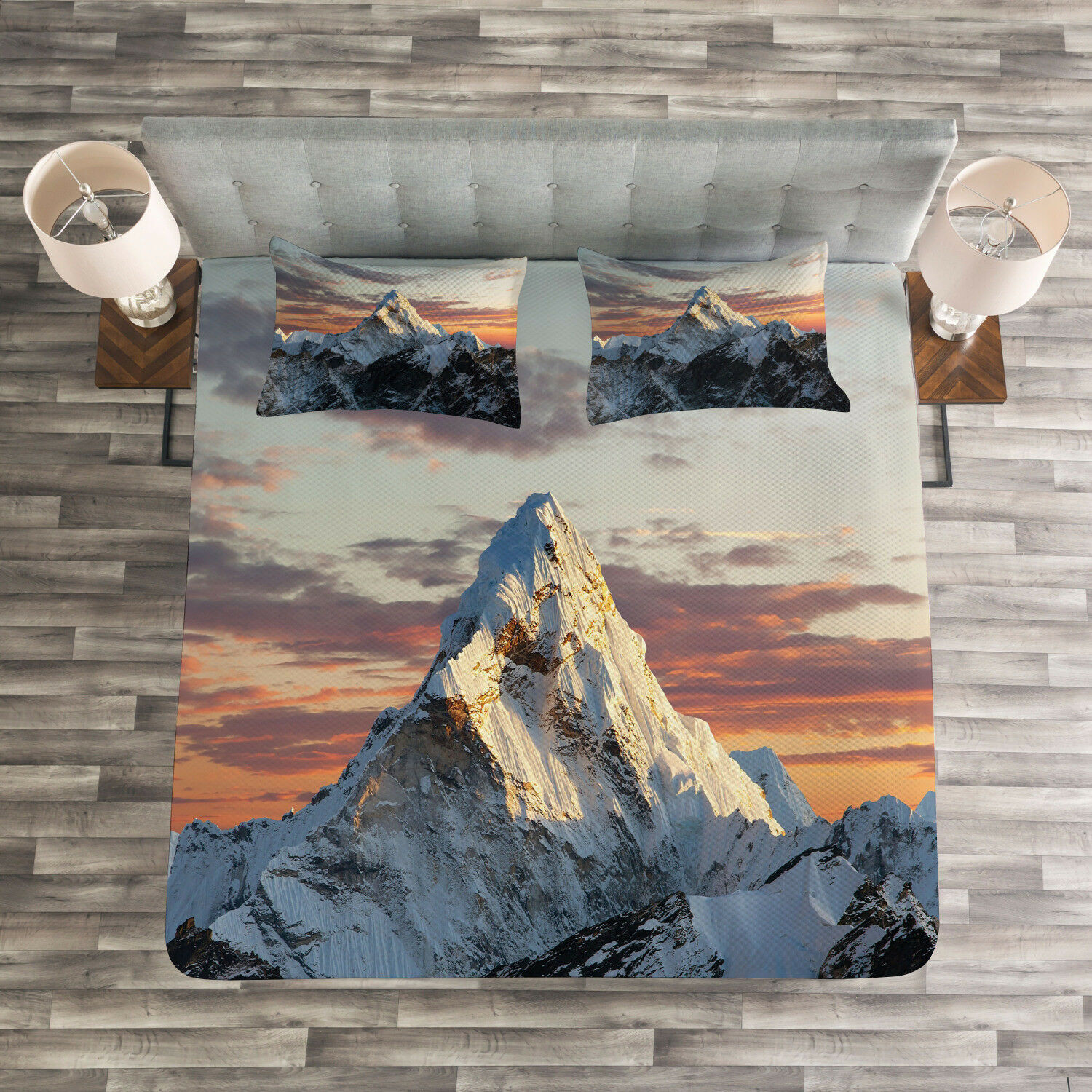 Farbeful Quilted Bedspread & Pillow Shams Set, Mountain Nepal Everest Print
