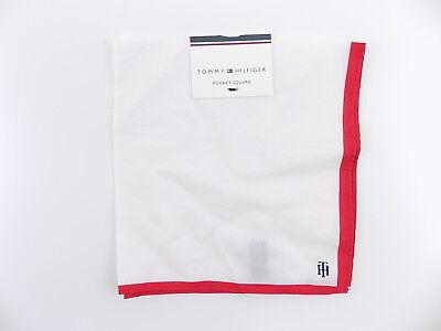 "Tommy Hilfiger $65 Red Plain WIDTH 11.5/"" MEN/'S Polyester HANDKERCHIEF SALE S05"