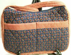 Quilted-Shoulder-Bag-Purse-Red-White-Blue-Calico-Print-New-Pockets-Zip-Summer