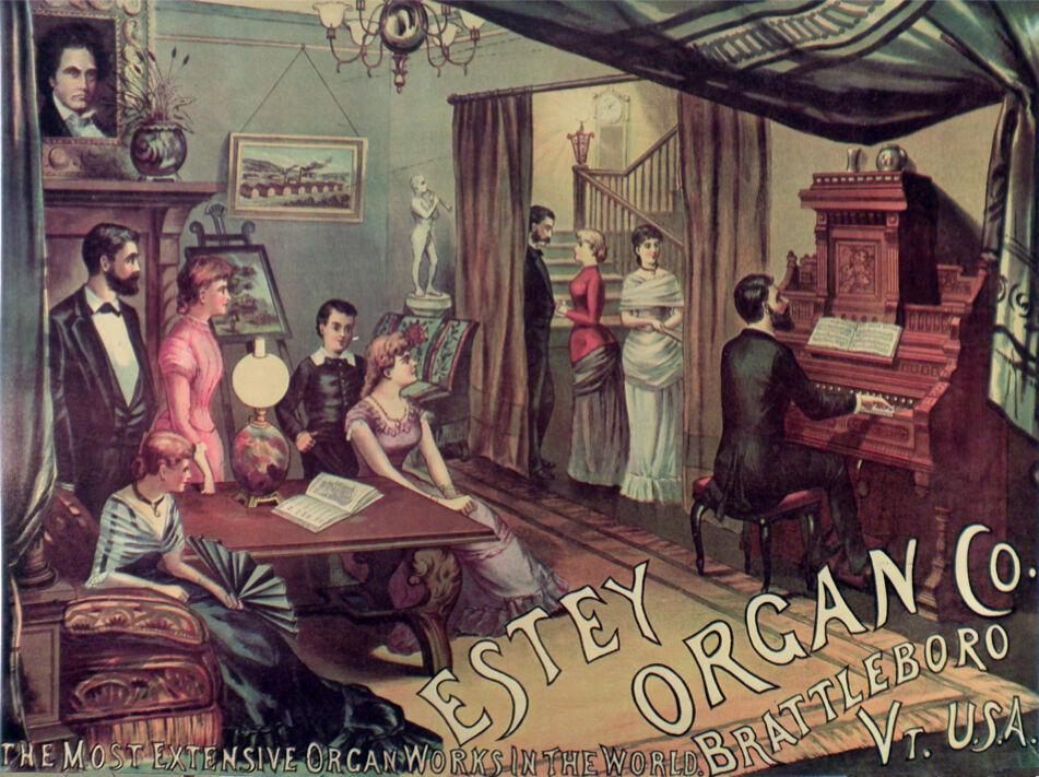 Estey Organ Vintage Ad POSTER.Stylish Graphics. Piano Decor Art.House. 1883