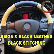 CAR STEERING WHEEL COVER SIZE 37-39cm BEIGE & BLACK LEATHER