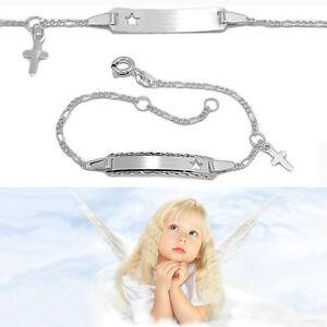 Baby Taufe Schutzengel Kreuz Ident Armband mit Gravur Name Datum Echt Silber 925