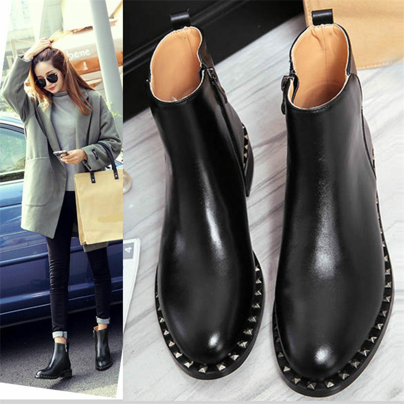 Fashion mujer Genuine Leather Ankle botas Flats Round Toe Oxfords Oxfords Oxfords Punk zapatos  se descuenta