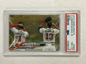 RONALD ACUNA JR 2018 Topps Update GOLD SP RC /2018 w/ ALBIES! PSA NM-MT 8! #US43