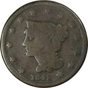 Braided Hair Large Cent Random Date Copper Penny 1c US Type Coin Collectible