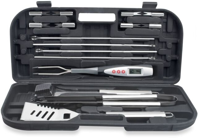 Premium 19-Piece BBQ Tool Set with Digital Temp Fork and Case