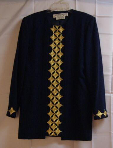 10 blu Bloom Womens navy foderato oro donna Noviello taglia Giacca lunghe maniche da qxgHZZ