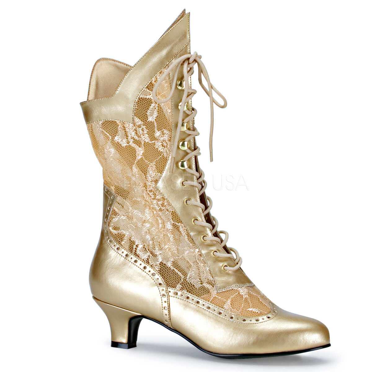 Victorian Steampunk Bridal Pioneer Burlesque Kitten Heels gold Lace Up Boots