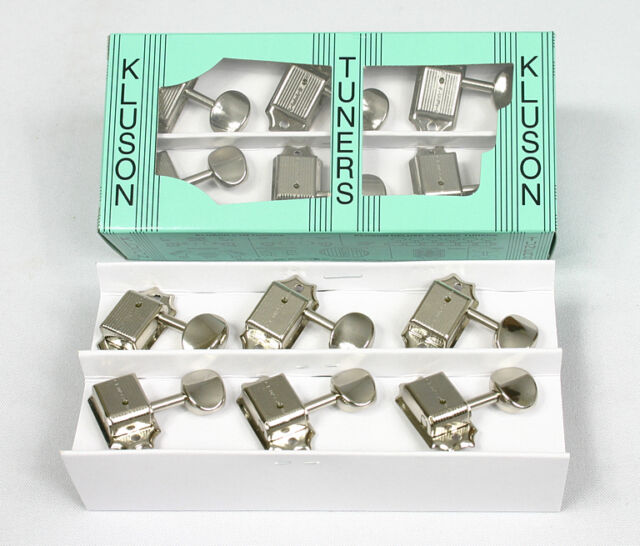 Kluson M3JGN Vintage Single Line Junior Metal Button Tuners, 3x3 Nickel 8.5mm