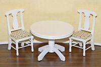 Dollhouse Miniature Round White Kitchen Table & Chairs Set