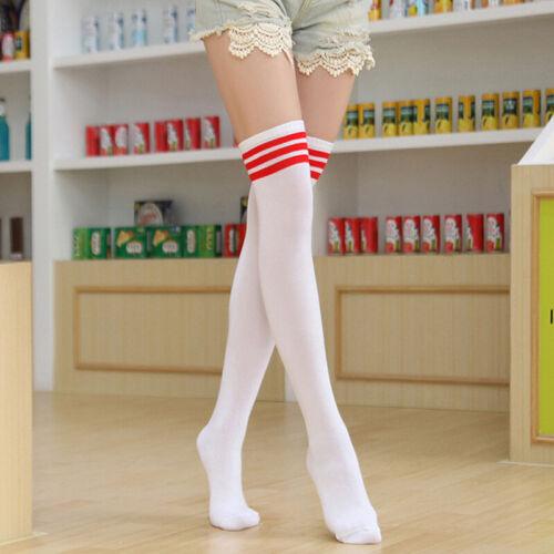 Hot Stunning Striped Thigh High Long Hosiery Over The Knee Dress Socks Stockings