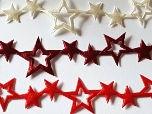Noël ajourées Satin Star ruban 25 mm Rouge-Ivoire Artisanat Cartes DECOR Parage