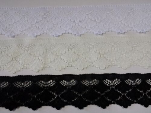 Lace Flat Scalloped Pattern 45mm width Colours White Cream or Black