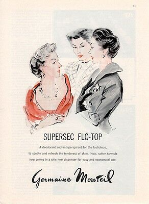 "1961 Germaine Monteil ""Flo-Top"" Deodorant 3 Women Discussion ART PRINT AD"