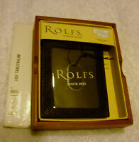 Men's Rolfs Leather Wallet Black Front Pocket Id Window Money Clip Box
