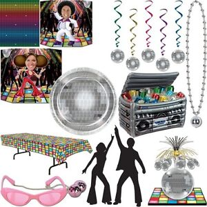 Disco party dekoration 70er 80er jahre deko mottoparty disko partygeschirr set ebay - 80er party dekoration ...