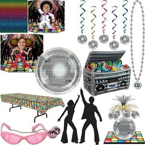 disco party dekoration 70er 80er jahre deko mottoparty disko partygeschirr set ebay. Black Bedroom Furniture Sets. Home Design Ideas