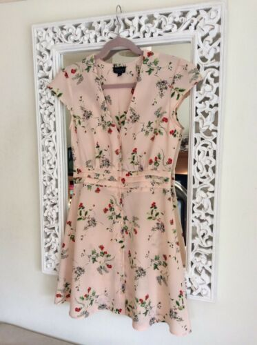 V neck Strawberry Immaculate Size Uk Blossom Dress 10 Topshop And Ivory Pink wtqMfXY