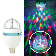 LED Spinning Color Crystal Disco Ball BC B22 Bayonet Cap Sensory Room Light Bulb
