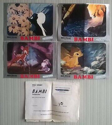 Lotto fotobusta bambi walt disney originali cartoon cartoni animati