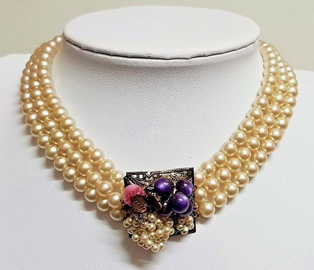 ANCIEN BIJOU COLLIER PERLE IMITATION OEIL DE CHAT purple PATE VERRE pink   150Y