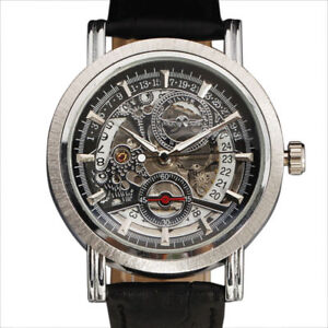 Skeleton-Dial-Automatic-Mechanical-Mens-Wrist-Watch-Date-Leather-Strap-Steampunk