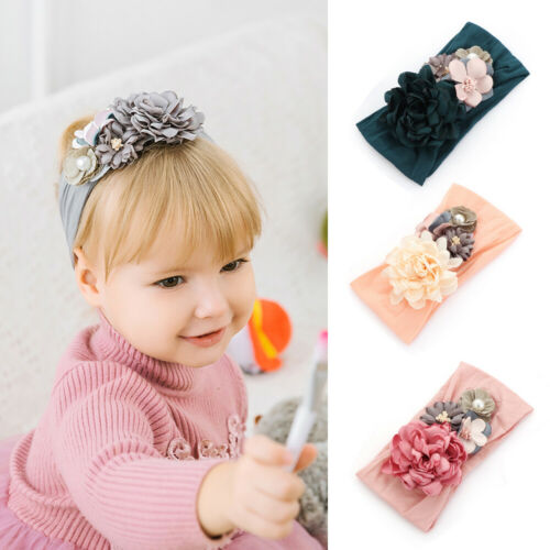 Baby Kids Headbands Nylon Flower Hairband Pearl Turban Princess Hair Accessories