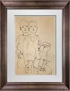 "Egon SCHIELE Lithograph SIGNED #'ed Limited Ed: 100 ""Street-Boys"" 1910 +FRAMING"
