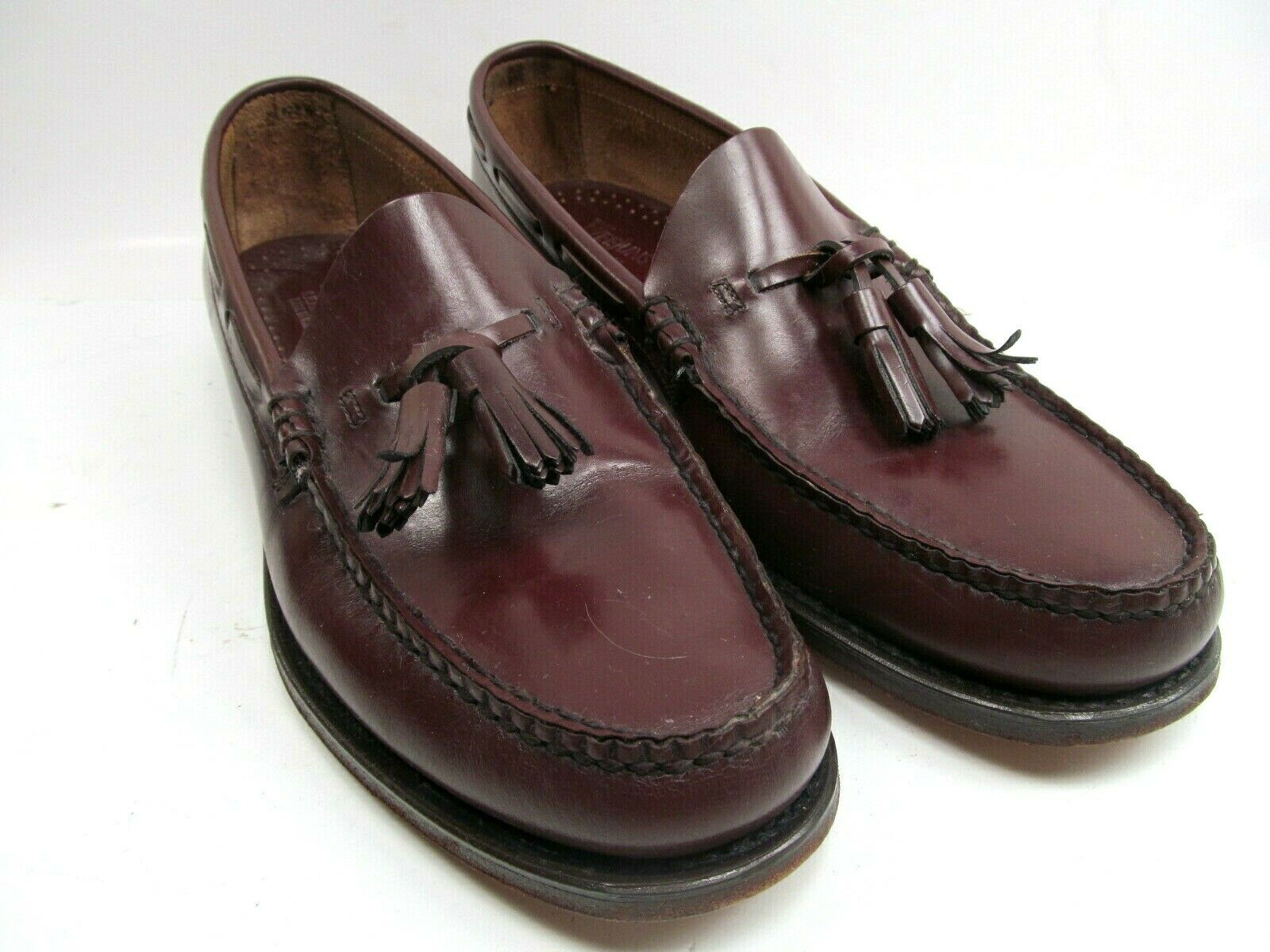 Bass Weejuns Mens Burgundy Leather Tassel Loafers Size US 10 B Wilton, Maine USA