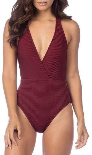 Women's La whitea Sin-Sation Surplice 1pc Swimsuit OTS Mio Sz 6 Crimson