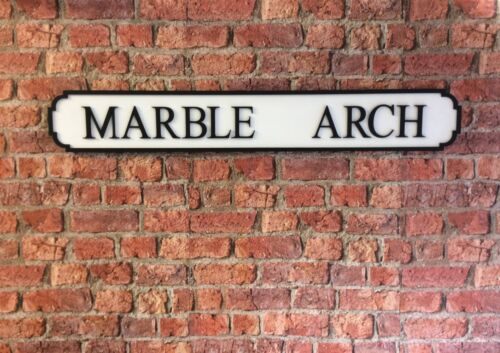 Vintage Wood Street Road Sign MARBLE ARCH