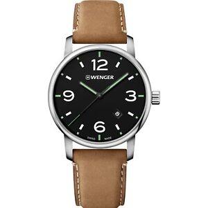 Wenger Urban Metropolitan Quartz Black Dial Brown Leather Men's Watch 01.1741.11