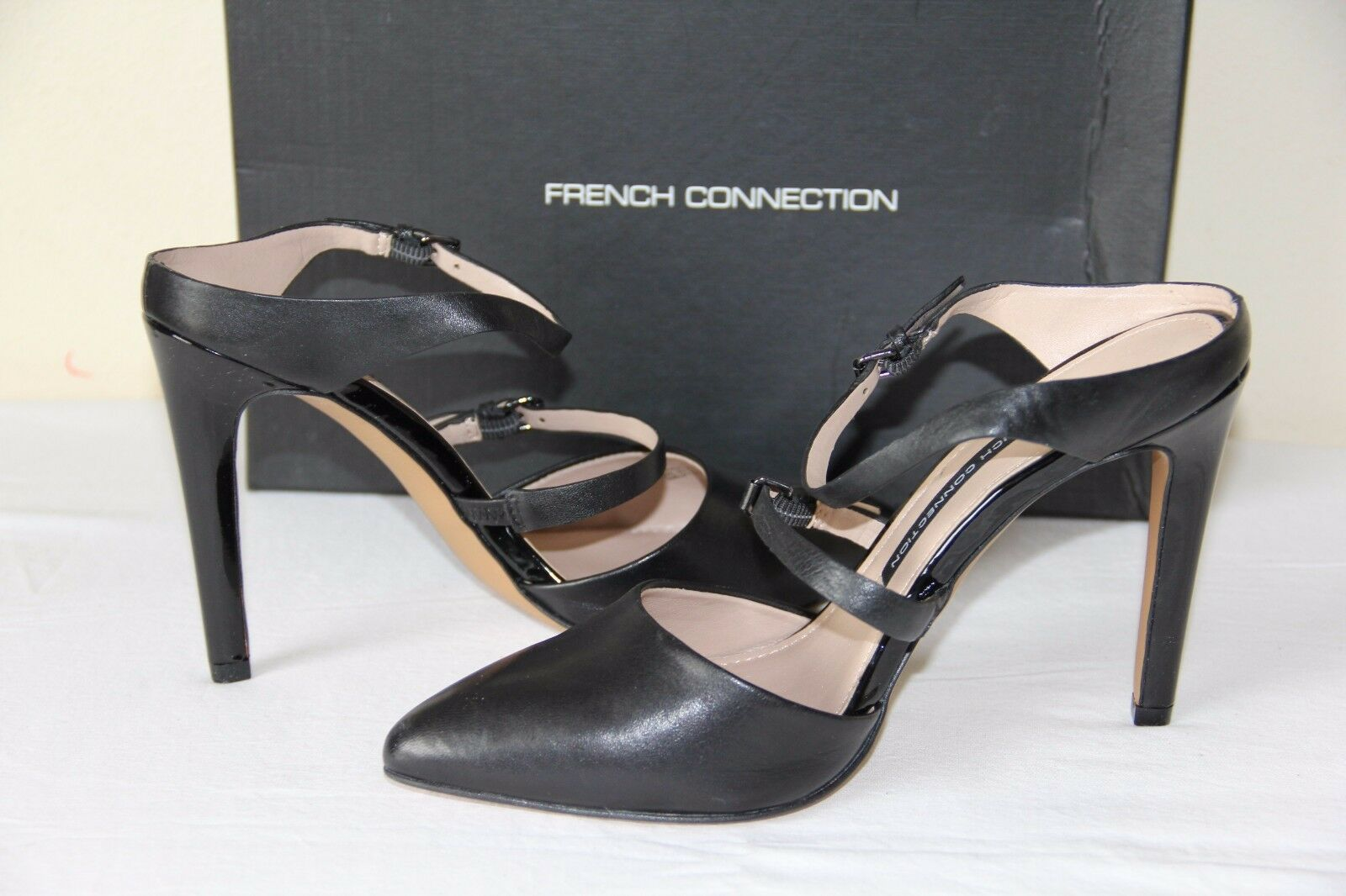 NEW French Connection MONDALAY Women's Leather Black Dress shoes shoes shoes Heels Slip On 0e8677