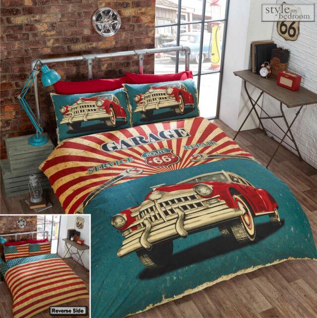 Route 66 Retro Garage Vintage Car with USA Flag Reverse Duvet Quilt Cover Set
