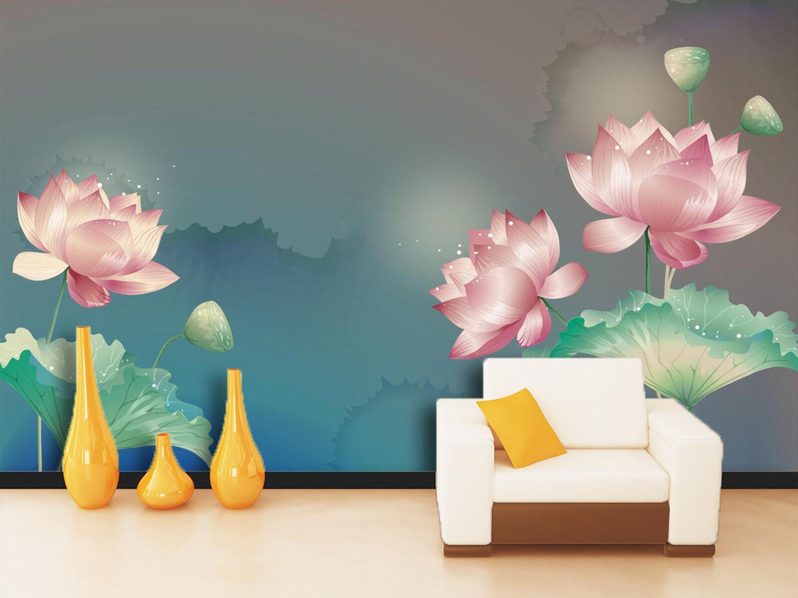3D Lotus 212 Photo Papier Peint en Autocollant Murale Plafond Chambre Art