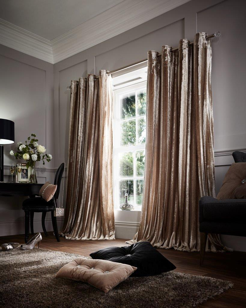 NEW Mink Eyelet Ring Top Soft Faux Fur Shiny Stripes Pair of Curtains 4 Größes