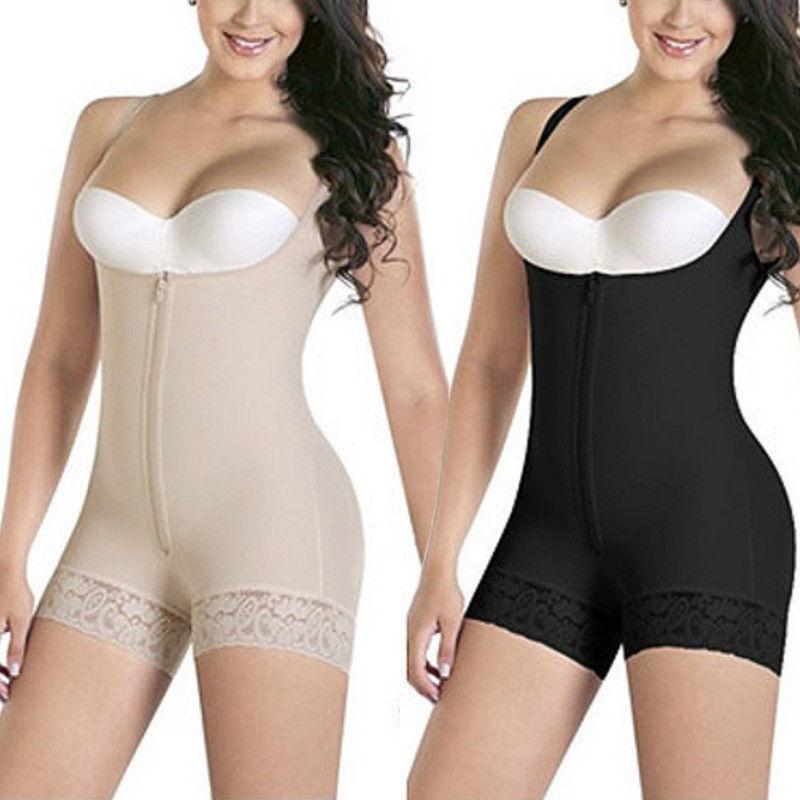 Women Full Body Shaper Underbust Tummy Control Zip Shapewear Fajas Colombianas 3