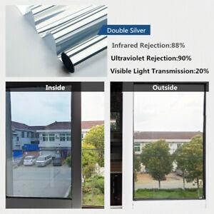 Silver Mirror Solar Reflective Window Film One Way Privacy Anti Uv Heat Stickers Ebay